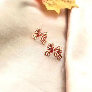 Kate Spade Striped Wave Bow Enamel Earrings